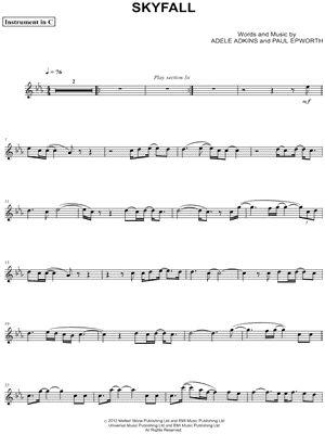 "Adele ""Skyfall - C Instrument"" Sheet Music (Flute, Violin, Oboe or Recorder) - Download & Print"