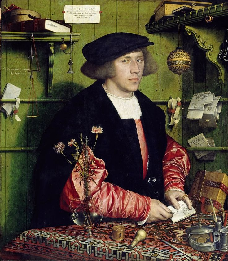 Portrait of Gdańsk merchant Georg Gisze by Hans Holbein the Younger, 1532 (PD-art/old),  Gemäldegalerie der Staatlichen Museen zu Berlin; after his return from London, Gisze was in service of king Sigismund I of Poland as a diplomat, on February 27, 1536 he was ennobled by Polish Diet in Piotrków and between 1554 -1558 he represented the king Sigismund Augustus as a burgrave of Gdańsk