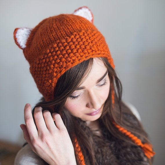 Knitted earflaps hat, with braids, winter hat, with cat ...