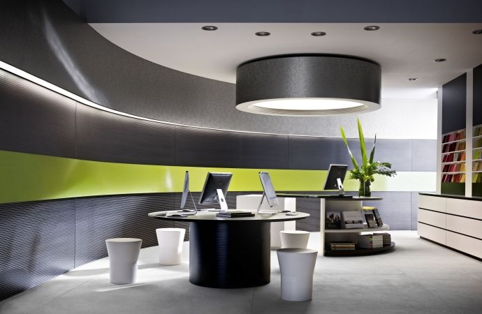 Walls featuring three colours in Laminex Innovations Tracery, Laminex Juicy and Laminex Innovations Tribal Graphic.