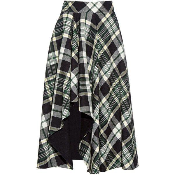 Alexander McQueen Tartan-check wool fluted midi-skirt (86.035 RUB) ❤ liked on Polyvore featuring skirts, green, green plaid skirt, wool skirt, wool midi skirt, high-waist skirt and green skirt