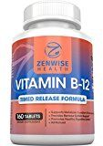 Vitamin B12  1000 MCG Supplement  Natural Energy Booster  Benefits Heart Digestive and Brain Function  160 Count Timed Release Tablets