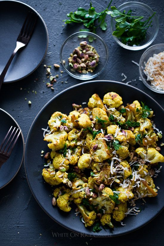 Roasted Curry Cauliflower with Turmeric, Pistachios, and Coconut   31 Things You Should Eat In December