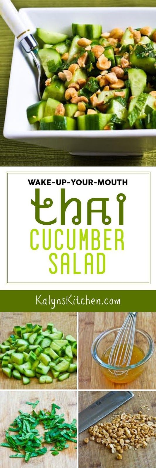 Wake-Up-Your-Mouth Thai Cucumber Salad is a fabulous side dish for any Asian meal and with approved sweeteners the salad is low-carb, Keto, low-glycemic, gluten-free, and South Beach Diet friendly. This is a great salad any time of year! [found on KalynsKitchen.com] #CucumberSalad #ThaiCucumberSalad #LowCarbThaiSalad