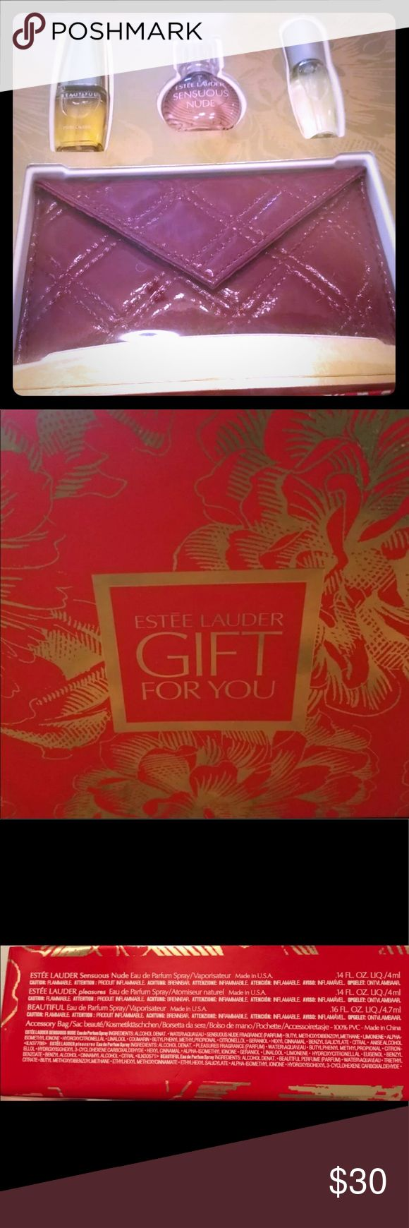 """ESTEE LAUDER GIFT PACK WITH 3 PERFUMES AND BAG ESTEE LAUDER GIFT PACK WITH 3 PERFUMES AND BAG NIB SAYS """"GIFT FOR YOU"""" SENSUOUS NUDE, BEAUTIFUL AND PLEASURES. Estee Lauder Other"""