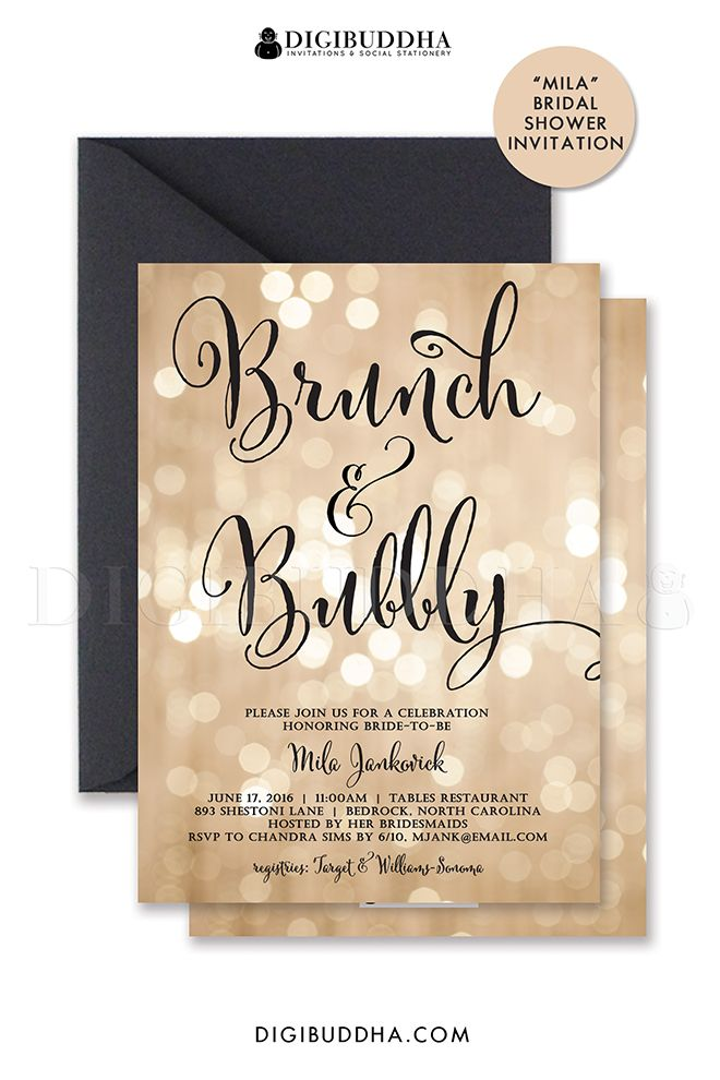 bokeh brunch u0026 bubbly invitation champagne bridal shower gold sparkle printable black calligraphy free shipping or