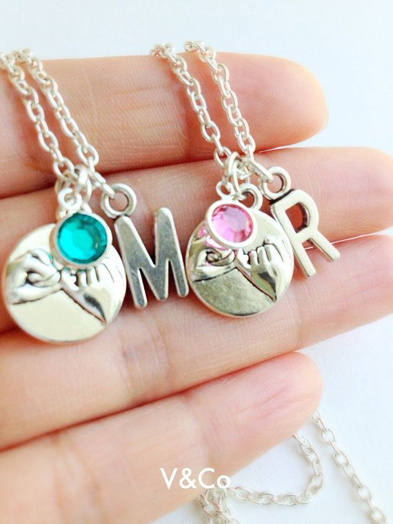 Pinky Promise Necklace with Initial and Swarovski by VelazioAndCo, $19.99