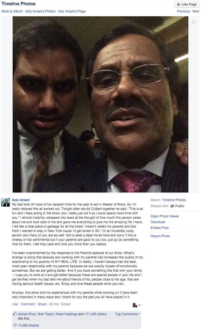 Read This Heartwarming Tribute Aziz Ansari Wrote About His Father