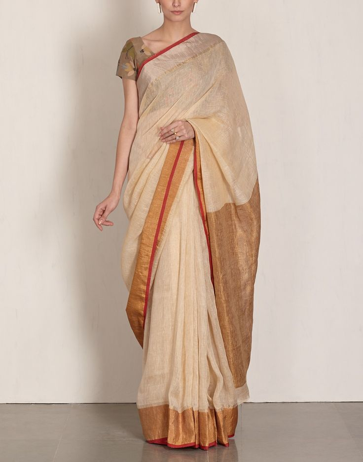 Off White Linen Saree-Anavila