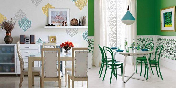 Узоры на стене в интерьере кухни