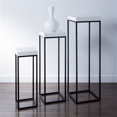 Truss Nested Tall Pedestal Tables Set of Three