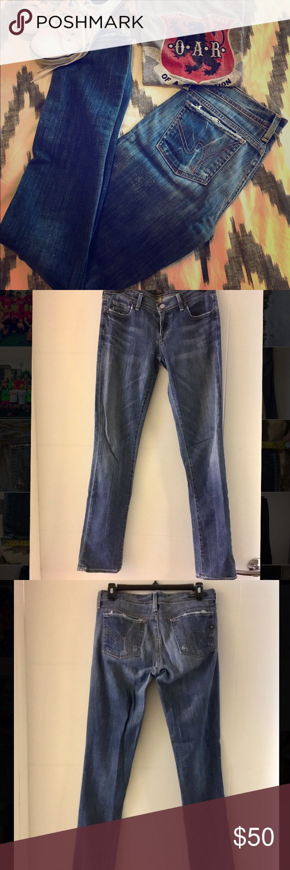 """Citizens of Humanity Bootcut Straight Leg Jeans Great classic pair of jeans! Worn but in great condition. Some distressing on pockets and thighs (by design). 32"""" in seam, 6.5"""" ankle opening. Low rise but not super low. Size 28! Let me know if you have any questions! Citizens of Humanity Jeans Straight Leg"""