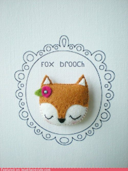 Felicity Fox (from Fantastic Mr. Fox) in pin form. And I'm pinning it. :D (This is via stuff.icanhazcheezburger.com but source is littlehappystitches on etsy - http://www.etsy.com/listing/96991295/fox-broochpin)