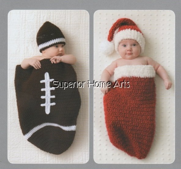 Crochet Cocoons Baby Patterns Football Christmas Sac Newborn 3 months Book CUTE - Baby & Children: Crochet Cocoon Patterns, The Special, Baby Patterns, Cocoon Baby, Baby Boys, Crochet Videos, Patterns Books, Baby Cocoon, Baby Stuff