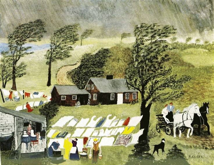 Taking in the Laundry by Grandma Moses. Currently on view at the Bennington Museum