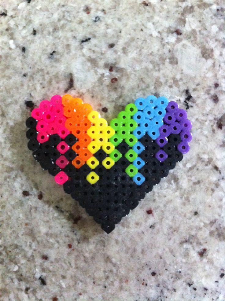 Perler beads colorful heart