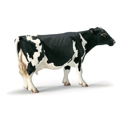 Solid plastic Toy Farm Animal from Schleich, made to last and perfect as a collectable or a gift. Holstein cows are black and white bovines that chew the cud, and chew and chew!