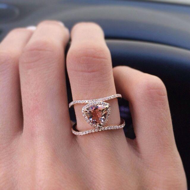 14kt rose gold and diamond Double Band Champagne Garnet Trillion ring – Luna Skye by Samantha Conn