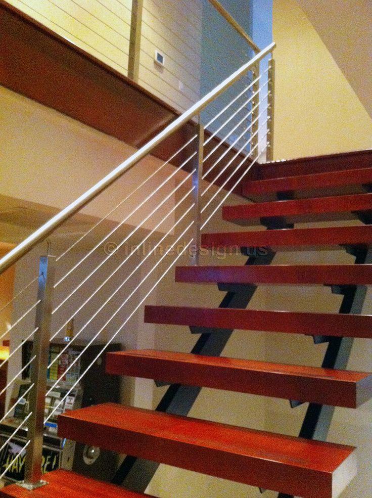 Best Black Steel Spine Stainless Rails Wooden Steps Single 640 x 480