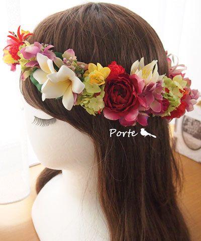 朱色が映えるプルメリアの花冠 ウェディングブーケ・花冠・通販専門店「ぽると」