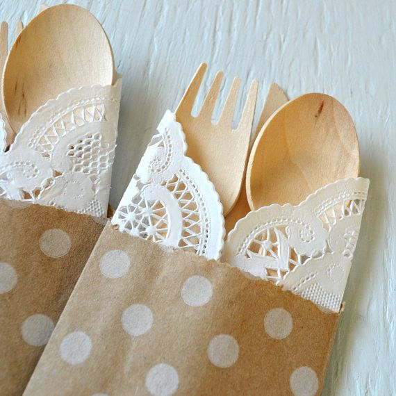 25 wooden cutlery 5-piece kits with POLKA DOT bag, fork, spoon, knife and doily - ecofriendly cutlery set for weddings, parties and showers