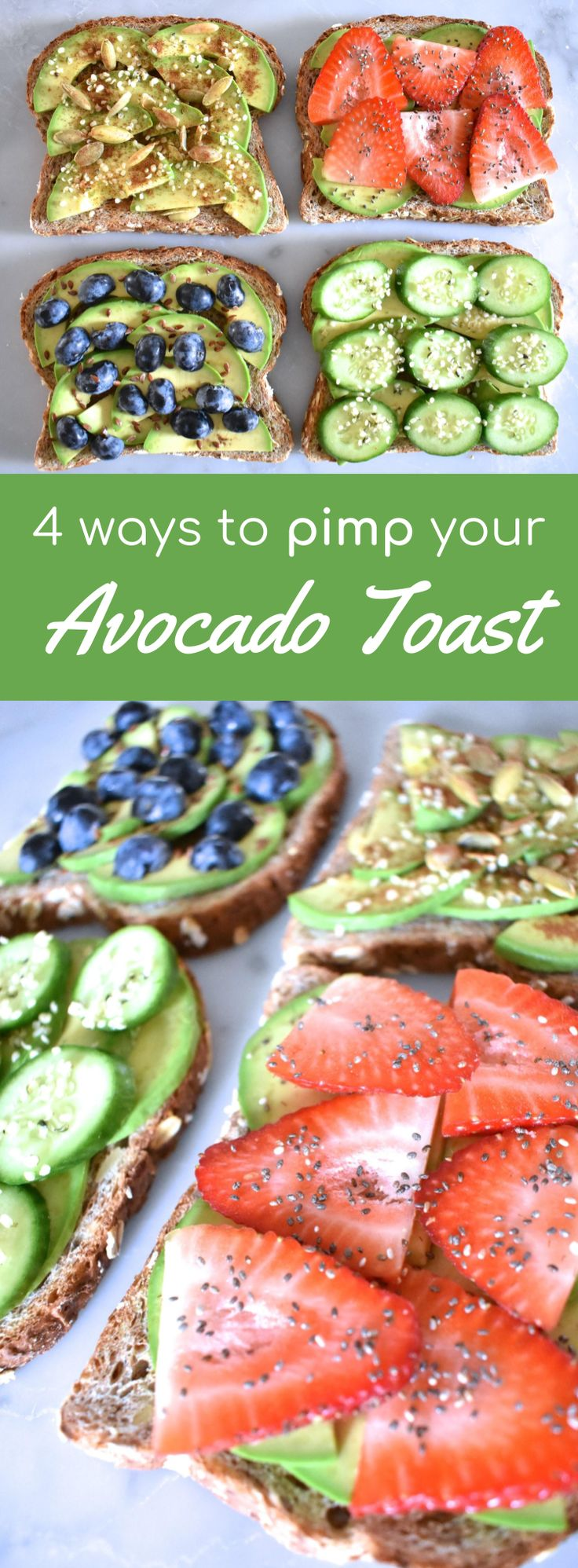 4 ways to pimp your Avocado Toast, vegan avocado toast, breakfast toast, toast that's not boring, vegan breakfast, the best way to make avocado toast, healthy avocado toast, plant based breakfast
