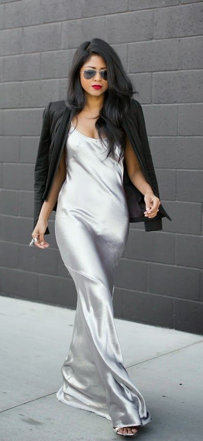Sexy Rocking Slinky Maxi Dress , Black Cool Blazer