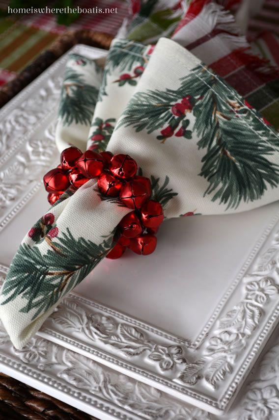 guizos de natal se transformam em anel de guardanapos