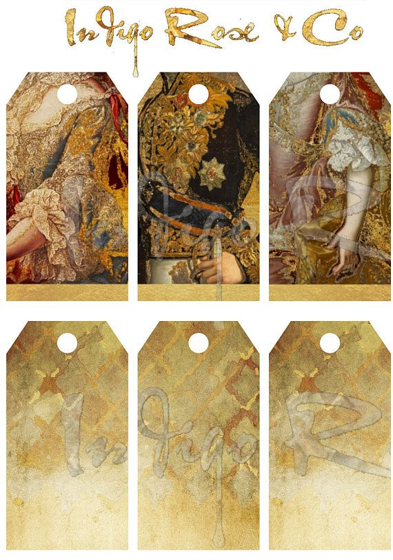 Vintage French Gift TAG Digital Label Tags Party DIY PRINTABLE Marie Antoinette Hobby Craft Gold Card Graphic Design Collage Scrapbooking