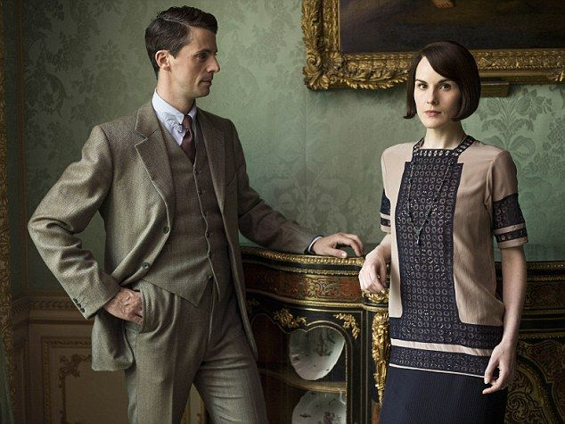 Downton Abbey stars Matthew Goode as Henry Talbot and Michelle Dockery as Lady Mary Crawle...