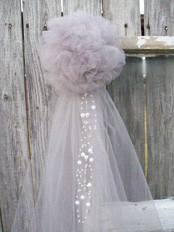 Silver Pew Bow Grey Wedding Decor Silver Tulle Church by OneFunDay, $10.50