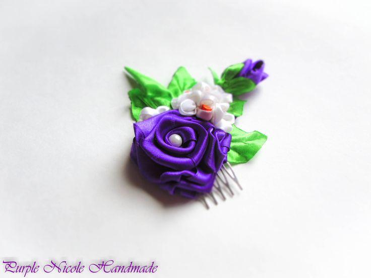 Bundle of Love - Handmade Statement Flower Hair Comb by Purple Nicole (Nicole Cea Mov), handmade rose, lilac, daisy, leaves.