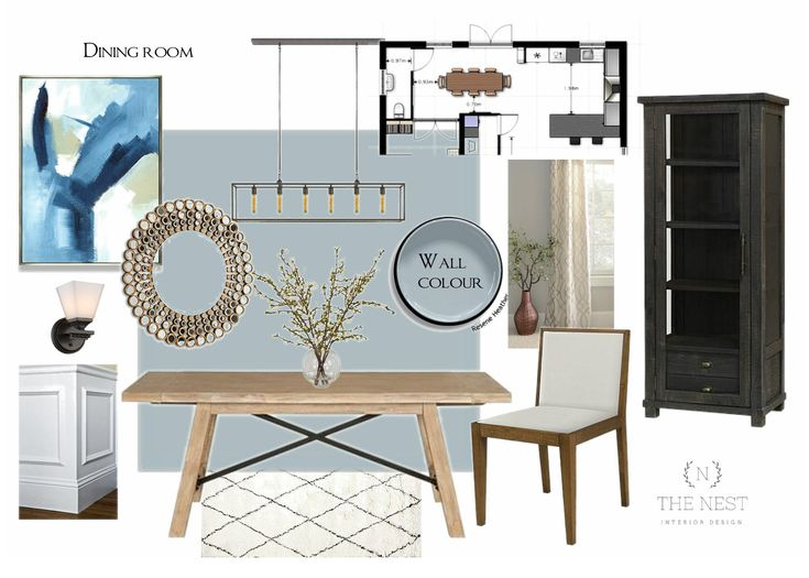 Living room design board / French blue / wainscoting / classic