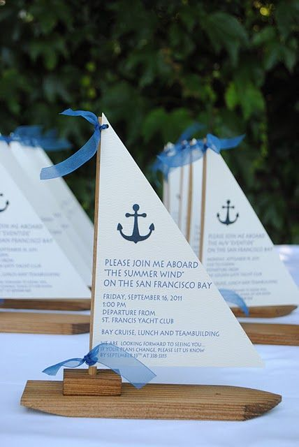 nautical inspired party invitations. And they have those $1.00 wood kids at Michael's craft store! This idea could be used for other things like the menu or even favors.