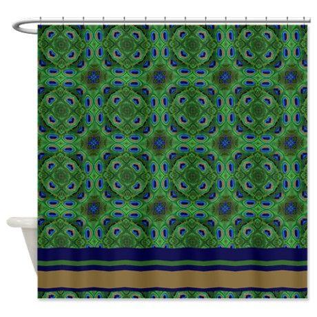peacock kaleidoscope pattern shower curtain on