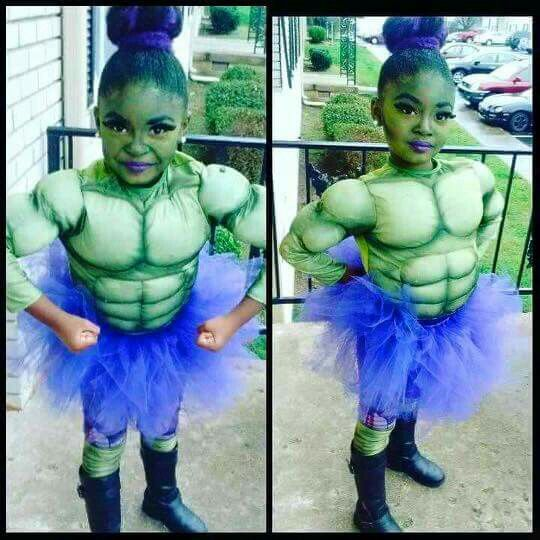 """Because she's obsessed with the hulk and 'normal' standards don't matter!! She can be anything she wants to be!!"" - Antwanica D. (Mom) Love! Love! Looooooove!!! Photo via Mom ft. Jada Nicole aka The fiercest Hulk that you ever did see! #becauseofthemwecan #blackgirlmagic #halloweencostumes"