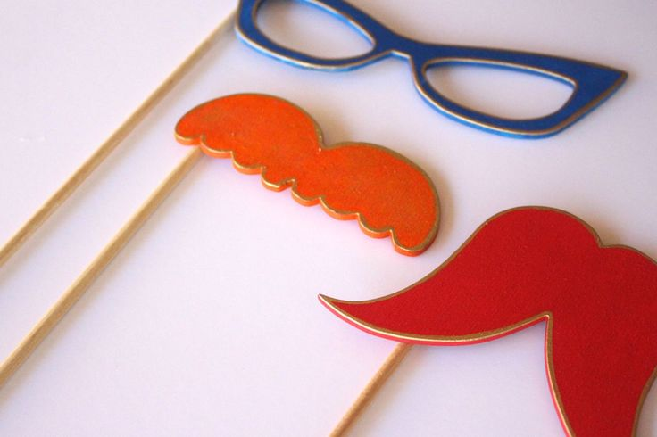 Wooden Stylish Eye Glasses and Mustaches Photo Booth Props