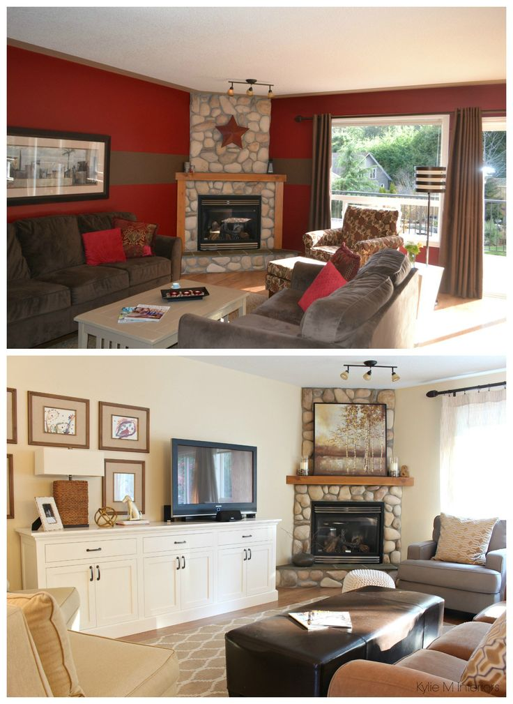 Living room before and after with stone corner fireplace - Living room corner ideas pinterest ...