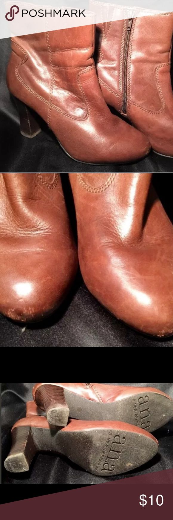 """A.N.A brown leather ankle boots 7 1/2 W Brown leather ankle boots perfect to wear with jeans or anything.   Side zip.  3 1/2"""" heel  Some scuffs on toes.  Please see pictures. Otherwise good condition a.n.a Shoes Ankle Boots & Booties"""