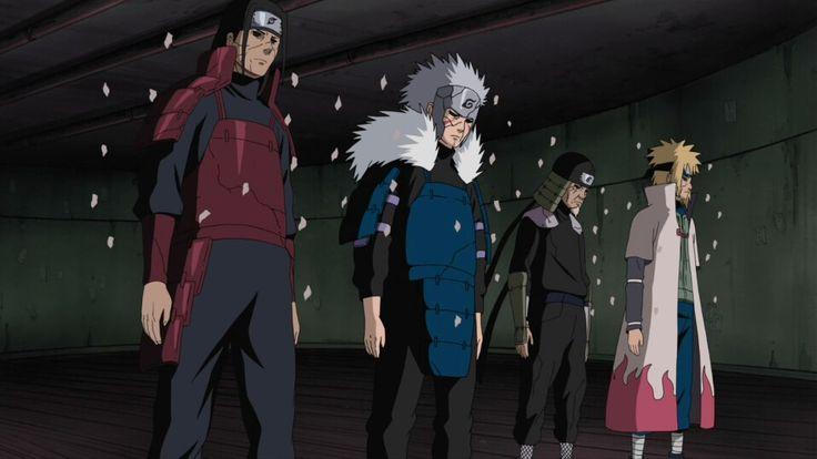 Minato resucitado junto con los anteriores Hokages.
