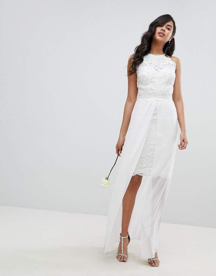 7af70fdcc5374 Lipsy Bridal Midi Pencil Dress with Detachable Chiffon Maxi Skirt ...