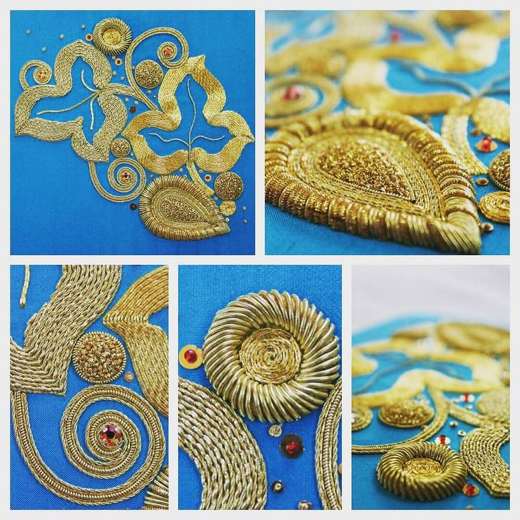 Goldwork Embroidery by @beckyquine on Instagram ~ on display on the #futuretutor stand. royalschoolofneedlework at the Knitting & Stitching Show - Alexandra Palace