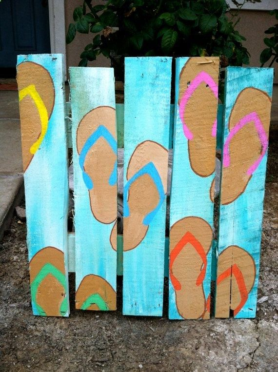 Flip Flop Pallet Art/ Sandal Pallet Art by WoulfsCreations on Etsy, $45.00