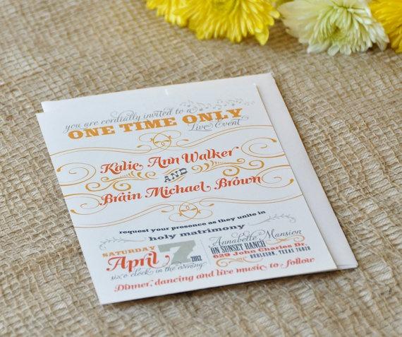 Unique Performance Wedding Invitation & RSVP. $3.50, via Etsy.