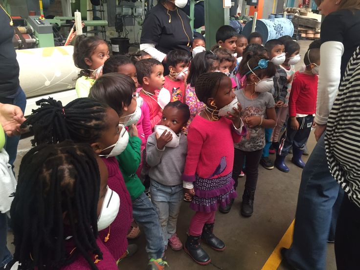 Edcon Montessori visit Sesli for a tour. Each child and teacher received a blanket as a gift from Sesli Textiles.