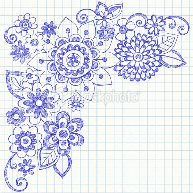 Hand-Drawn Sketchy Notebook Doodle Flowers Royalty Free Stock Vector Art Illustration