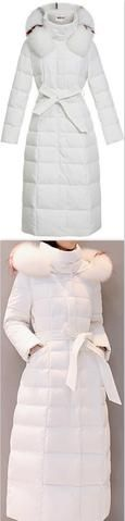 Striped-Fur-Hooded Long Puffer Coat,  White