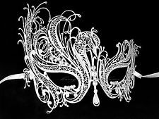 White Swan Laser Cut Metal Venetian Masquerade Mask with Pearl