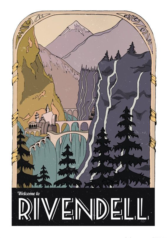 Lord of the Rings Rivendell Retro Travel Poster by CoconuTacha