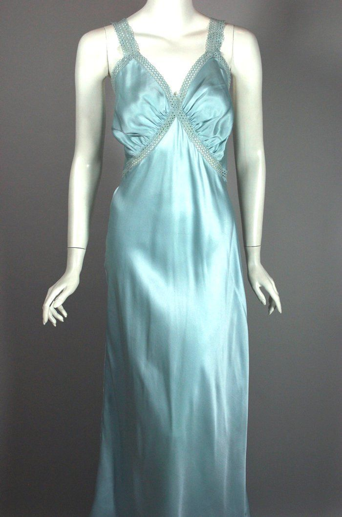 Ice blue rayon satin 1940s nightgown bias cut size 38  31b3c42e3